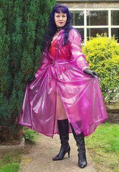 Pink Raincoat, Plastic Raincoat, Plastic Pants, Plastic Mac, Victorian Gown, Rain Suit, Female Supremacy, Latex Girls, Clothes