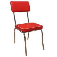 Retro Style Side Chair With A Slender Metal Frame And Red Upholstered Foam  Cushioning
