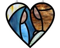 easy heart shaped stained glass suncatcher pattern with creche nativity mary joseph baby