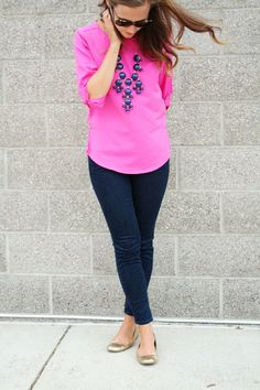 Bright pink and navy