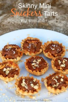 Snickers Mini Tarts. A little sweet and salty treat perfect for Valentine's Day. Just 83 calories and 2 WWP per 2-mini tart serving #weightwatchers #dessert #recipe http://simple-nourished-living.com/2014/11/snickers-mini-tarts/