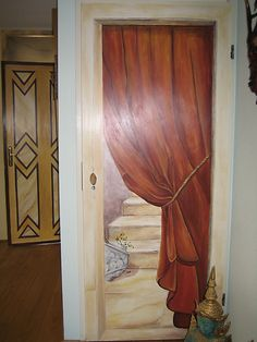 Painted doors House Painting, Diy Painting, Painting On Wood, Diy Interior Doors, Door Murals, Wood Surface, Bedroom Doors, Tips Belleza, Painted Doors
