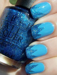blue sparkle tips nail art