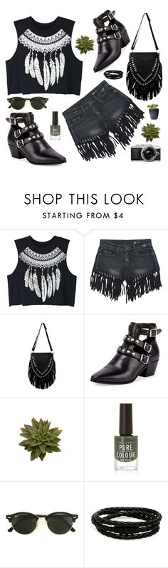"""""""Untitled #2723"""" by deeyanago ❤ liked on Polyvore featuring WithChic, Sans Souci, Yves Saint Laurent, New Look, Ray-Ban, Porsche Design and fringe"""