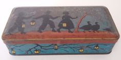 FRENCH LITTLE BOX 1900 LITHOGRAPHED SHEET METAL - CHILDREN DECOR