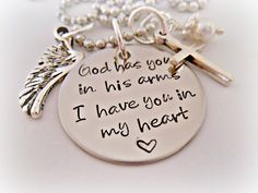 Hand Stamped Jewelry Personalized Jewelry - God Has You In His Arms I Have You In My Heart Loss Memorial Remembrance Miscarriage Necklace Tu Me Manques, Infant Loss, Angels In Heaven, Hand Stamped Jewelry, Metal Stamping, Personalized Jewelry, Handmade Jewelry, Thoughtful Gifts, My Heart