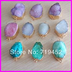Free ship! 6pcs Mixed Jewelry Small Druzy agate stone,Freedom shape natural crystal drusy stone bracelet connector