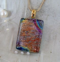 Dichroic Pendant Fused Glass Glass Jewelry by myfusedglass on Etsy