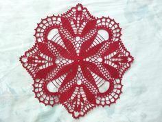 Crochet Tablecloth Red Flower Pattern Cardinal by DoSymphony Lace Doilies, Crochet Doilies, Crochet Lace, Free Crochet, Crochet Cushions, Crochet Tablecloth, Crochet Motif Patterns, Flower Patterns, Thread Crochet