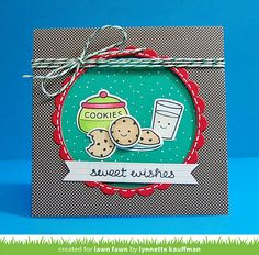 Lawn Fawn - Milk and Cookies + coordinating dies, Circle Stackables, Scalloped Circle Stackables, Snow Day 6x6 paper, Green Sparkle Lawn Trimmings _ card by Lynnette for Lawn Fawn Design Team