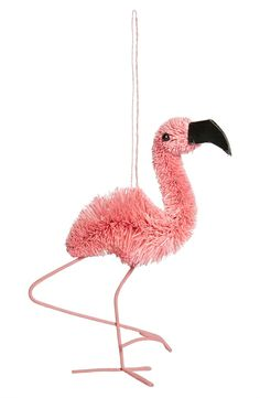 This pink flamingo ornament makes a great addition to any tropical themed Christmas tree. The affordable flamingo ornament was made from buri fiber.