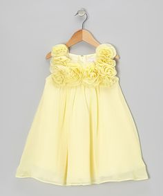 Take a look at this Banana Rosette Dress - Infant, Toddler & Girls on zulily today!