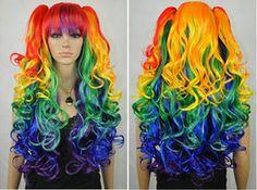 Rainbow Pigtail Wig, Cosplay Wig, Kawaii Lolita Fashion, Anime Wig, Long Curly Wig, Multi Colored Wig on Etsy, $59.99