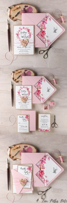 Pink watercolor cherry bloom wedding invitations