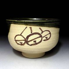 Japanese Vintage Oribe ware Chawan/ Tea bowl by Nitten Exhibition Potter, Sokaku Mizuno