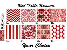 Table RunnerRed Table Runner.Red Table Runner 12 X by KikoyChic, $18.00 -- UP TO 108""