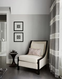 Elegant Horizontal Striped Curtains look Chicago Transitional Bedroom Decorating ideas with black Builders cathedral ceilings chair Chicagoland contemporary design custom custom drapery custom flooring design
