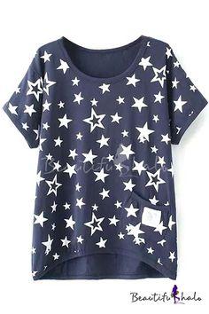 Dark Blue Short Sleeve White Star Single Pocket T-Shirt