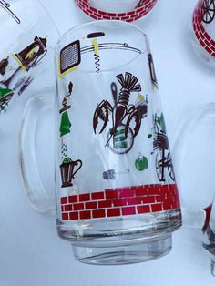 Excited to share this item from my #etsy shop: Vintage , Continental Can Company, Mugs with Kitschy Barbecue Graphics, Rare, Set of 7,  Pristine Condition #clear #red #glass #vintagebbqmugs #vintagebeermugs #hazelatlasmugs #kitschymugs #collectiblemugs #vintagekitchen