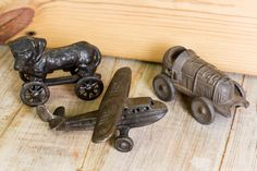 We're loving these iron vehicles! A dog on wheels is a vehicle, right? // Iron Dog - $14.95 | Iron Airplane & Race Car - $12.95 each