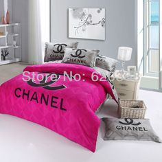 International fashion brand logo printed pink bedding sets,black rose comforter set,bed sheet,bedclothes,bedspread,pillowcase $93.99 - 98.99 Pink Bed Sheets, Pink Bedding Set, Satin Bedding, Rose Comforter, Comforter Sets, Rose Duvet Cover, Duvet Cover Sets, Chanel Party, Bedclothes