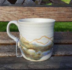Handmade stoneware ceramic 'Winter Landscape' mug, glazed in beautiful blues and green glazes by ClairePorterCeramics on Etsy