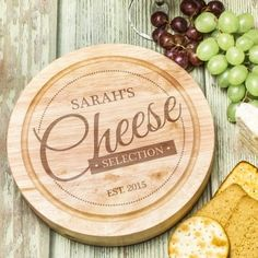 Engraved Wooden Cheese Board Set - Cheese Selection
