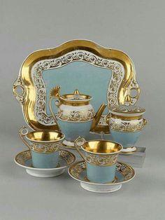 1850 Russian Porcelain Tea Set with Tray Tea Cup Saucer, Tea Cups, China Tea Sets, Teapots And Cups, Tea Service, My Cup Of Tea, Coffee Set, Vintage Tea, Vases