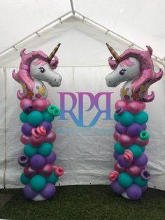 Unicorn Balloon Columns Balloon Tower, Balloon Columns, Balloon Garland, Balloon Arch, Balloon Decorations, Unicorn Themed Birthday Party, Birthday Diy, Birthday Balloons, Unicorn Party