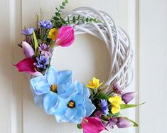 Large decorative wreath on the door, white wicker, floral wreath blue magnolia, tulips, pansies, cantedeschia, daisies spring summer season -    Edit Listing  - Etsy