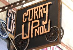 Curry Up Now Indian Street Food Restaurant and Food Truck Brand Identity Bay Area Exterior Copper and Metal Sign Design Restaurant Signage, Restaurant Names, Restaurant Recipes, Restaurant Design, Signage Design, Logo Design, Brand Design, Truck Interior Accessories, Interior Shop