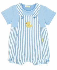 Le Top Infant Boys Sky Blue Baby Ducky Striped Sunsuit with Shirt
