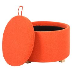 Safavieh Furniture - Storage takes a fashionable turn with the round Nevan Ottoman. Richly upholstered in burnt orange wool- blend fabric, Nevan comes with removable top and Mermaid Bedroom, Bedroom Orange, Orange Design, Orange Is The New Black, Soft Furnishings, My Favorite Color, All Modern, Diy Design, Interior Design