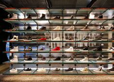 Sneaker store in Melbourne by March Studio features tunnel interior Sneaker Storage, Shoe Storage, Shoe Store Design, Architectural Photographers, Retail Interior, Retail Space, Window Design, Retail Shop, Retail Design