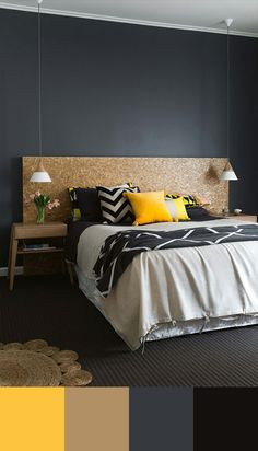 10 Perfect Bedroom Interior Design Color Schemes Design Build Ideas -- Like this color combination! Home Bedroom, Bedroom Decor, Bedroom Ideas, Headboard Ideas, Bedroom Wall, Teen Bedroom, Bedroom Headboards, Bedroom Inspo, Plywood Headboard Diy