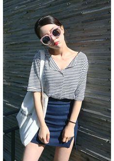 blue skirt, striped shirt