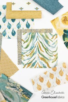 Bringing an awakening of vibrant energy in nature and a promise of long, gorgeous days, spring is a time to celebrate fresh air and gorgeous color. Comforting yellow tones and cool teal hues make a perfect pair. Create an effortlessly chic, earthy space with airy embroideries, prints, and modern wovens. Fabric: S3613 Turquoise, S3614 Saffron, S315 Lagoon, S3161 Pebble, S3617 Lagoon, S3618 Turquoise, S3619 Sienna, S3260 Aegean, S3621 Lemon, S3622 Saffron, S3623 Surg, S3624 Saffron Design Patterns, Design Ideas, Greenhouse Fabrics, Craft Show Ideas, Spring Home Decor, Yellow Fabric, Time To Celebrate, Fabric Art, Diy Painting