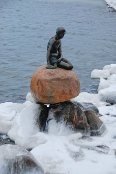 Denmark and The Little Mermaid in the winter