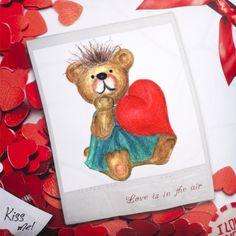 Polštář zamilovaný s potiskem Nový produkt Kiss Me, Teddy Bear, Animals, Art, Art Background, Animales, Animaux, Kunst, Kiss