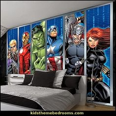 Marvel Avengers Assemble Strips Wallpaper Mural