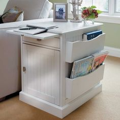 This cottage-style magazine end table has storage drawers, side racks for books, and a pull-out tray that can be used as a tray table while you're watching TV. This small apartment furniture piece has ample storage and multiple uses.