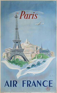 Original+vintage+poster+Air+France+Paris+-+Régis+MANSET+-+Ref+668+/+P+/+4+/+52