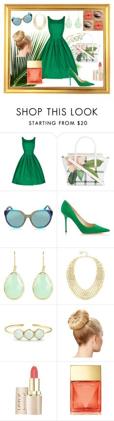 """""""Green Day"""" by tropicalhaven ❤ liked on Polyvore featuring Ted Baker, Marc Jacobs, Jimmy Choo, BCBGMAXAZRIA, Margaret Elizabeth, Michael Kors and greenday"""