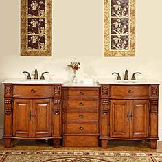Shop for Silkroad Exclusive 84-inch Double Sink Cabinet Bathroom Vanity. Get free delivery at Overstock.com - Your Online Furniture Outlet Store! Get 5% in rewards with Club O!