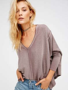 Drippy Extreme Pullover | Ultra cozy pullover featuring an oversized, effortless shape and a super soft and stretchy fabrication. V-neckline. Unfinished edges and ribbed accents throughout for a lived-in look.