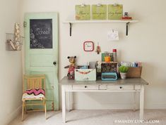 Love the mint green vintage door and chalkboard idea