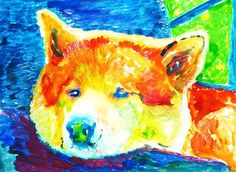 Akita painting art print, Akita Inu dog gift, colorful akita dog a…… visit oscarjetson.com to see cool dog art oscarjetson.com