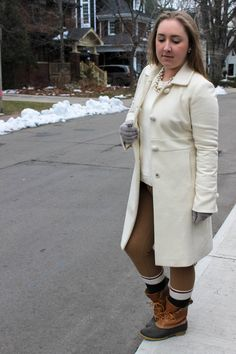 WINTER WHITES // Ivory Knit Sweater // Camel Skinny Pants // Ivory Wool Coat // Gold Chain // Camp Socks // Bean Boots   On Pearls and Polkadots...