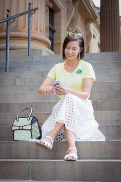 Pokemon Go Team Instinct shirt - white eyelet midi skirt - Jump From Paper bag