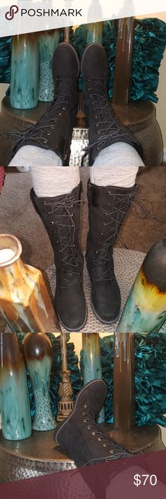 Boots Black suede and leather Timberlake Boots. Boots height is at Calf level. Boots are very comfortable and looks great paired with jeans. Kids size 5.5 equivalent to a womens size 7.5-8. Boots are in very good condition and are being sold because I now live in a state that hardly gets and cold weather and the climate here is made for sandals year round. Timberland Shoes Boots